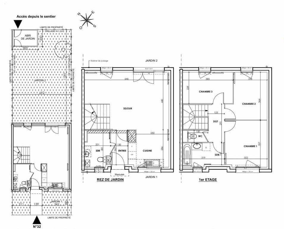 Plan 032, appartement neuf type T4 au Rez de chaussée, orienté Nord faisant 83m² du programme neuf BEAU SEJOUR à Tourcoing.