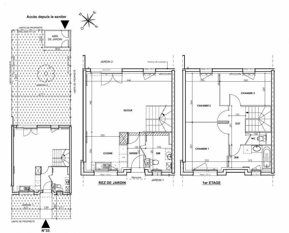 Plan 033, appartement neuf type T4 au Rez de chaussée, orienté Nord faisant 83m² du programme neuf BEAU SEJOUR à Tourcoing.