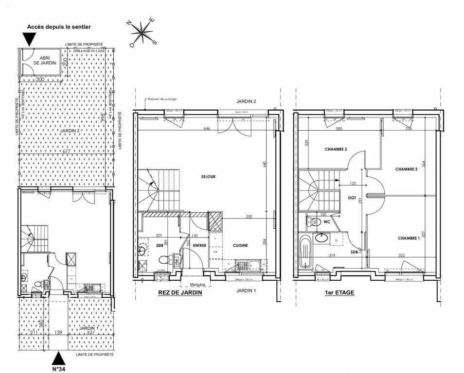 Plan 034, appartement neuf type T4 au Rez de chaussée, orienté Nord faisant 83m² du programme neuf BEAU SEJOUR à Tourcoing.