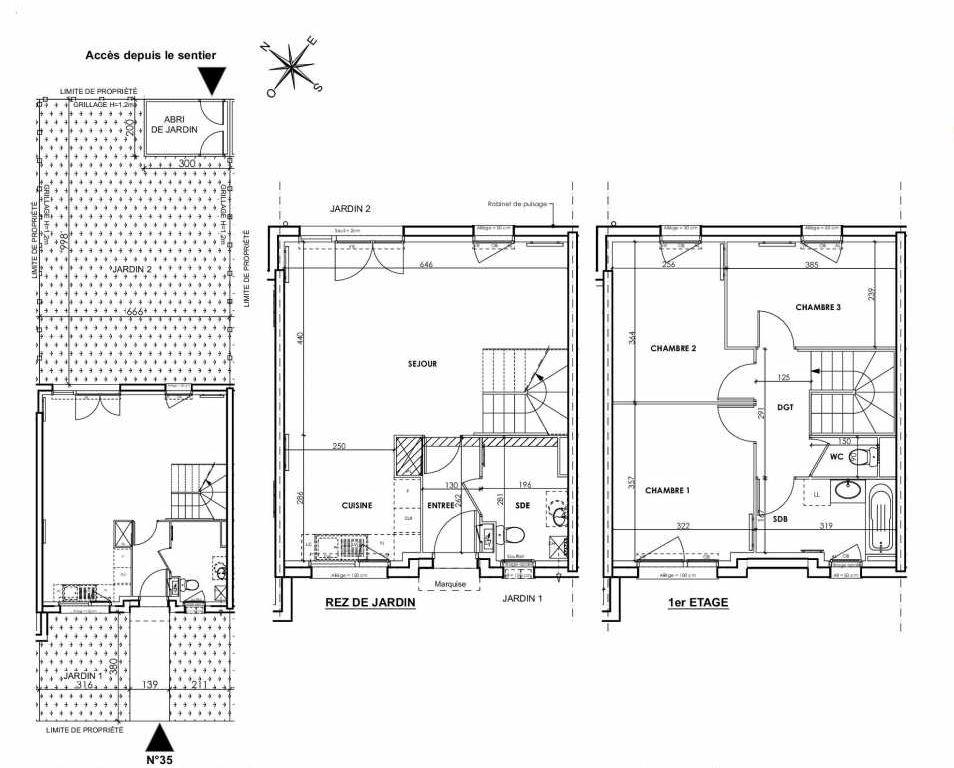 Plan 035, appartement neuf type T4 au Rez de chaussée, orienté Nord faisant 83m² du programme neuf BEAU SEJOUR à Tourcoing.