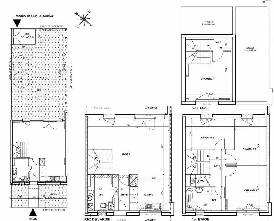 Plan 036, appartement neuf type T5 au Rez de chaussée, orienté Nord faisant 97m² du programme neuf BEAU SEJOUR à Tourcoing.