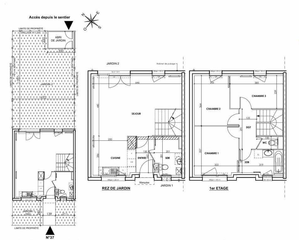 Plan 037, appartement neuf type T4 au Rez de chaussée, orienté Nord faisant 83m² du programme neuf BEAU SEJOUR à Tourcoing.