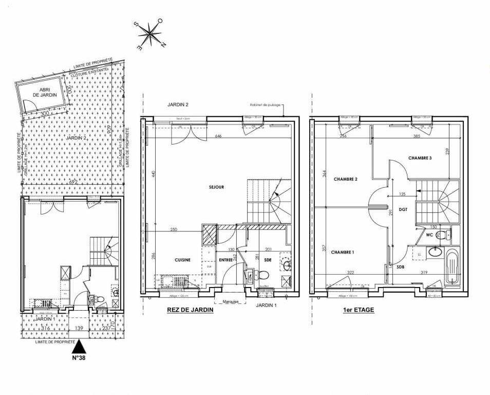 Plan 038, appartement neuf type T4 au Rez de chaussée, orienté Sud faisant 83m² du programme neuf BEAU SEJOUR à Tourcoing.