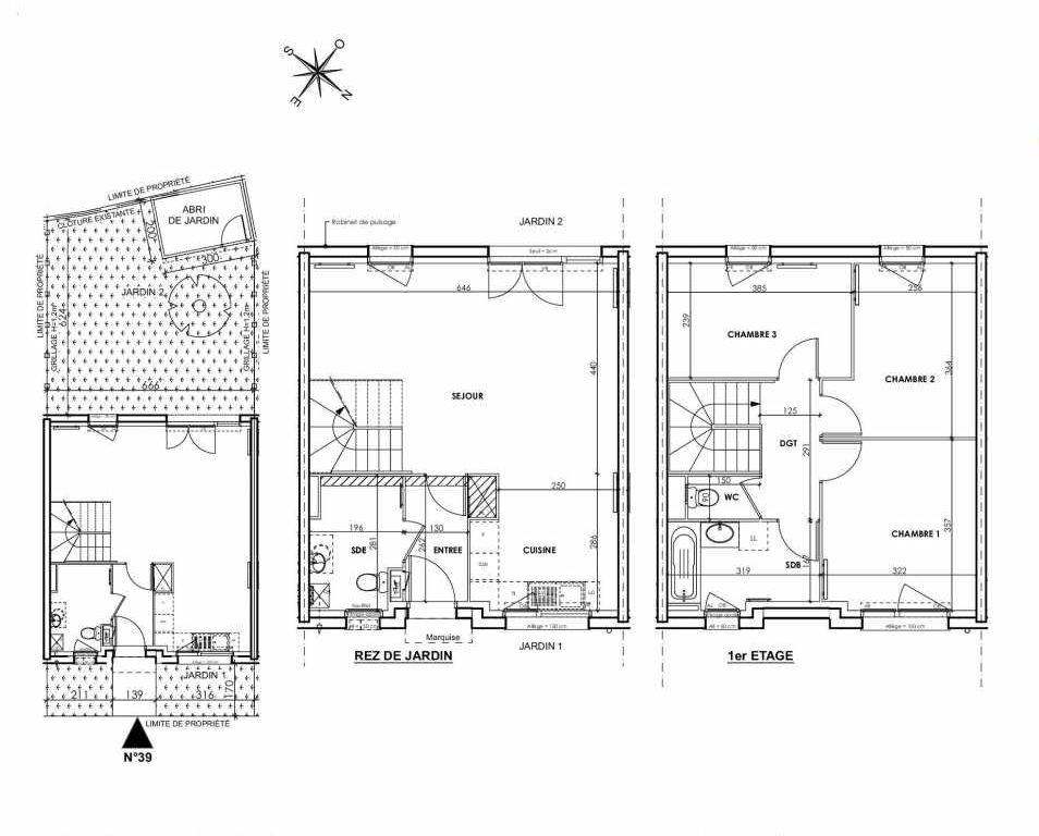 Plan 039, appartement neuf type T4 au Rez de chaussée, orienté Sud faisant 83m² du programme neuf BEAU SEJOUR à Tourcoing.