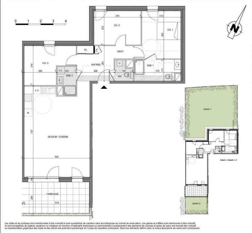 Plan 03D005, appartement neuf type T4 au Rez de chaussée, orienté Sud faisant 91m² du programme neuf LES CONTEMPORAINES à Chavanod.
