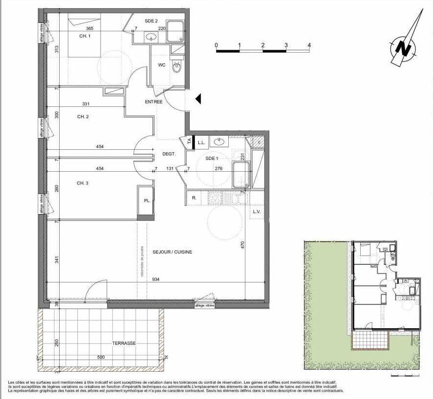 Plan 03E004, appartement neuf type T4 au Rez de chaussée, orienté Sud faisant 93m² du programme neuf LES CONTEMPORAINES à Chavanod.