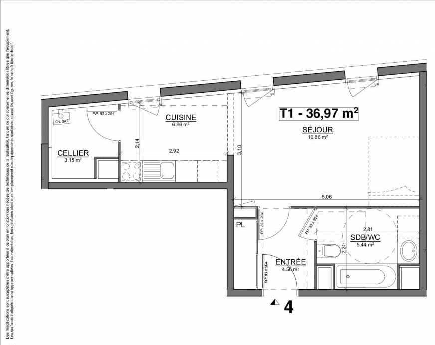 Plan 04, appartement neuf type T1 au 1er étage, orienté Est faisant 37m² du programme neuf Le Myra à Blagnac.