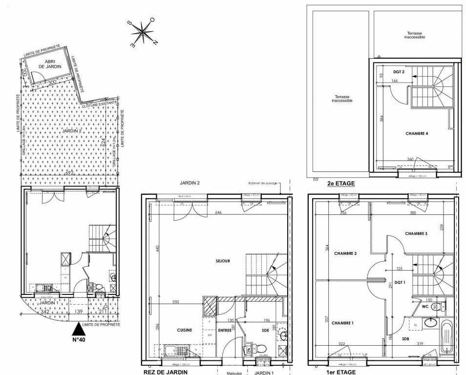 Plan 040, appartement neuf type T5 au Rez de chaussée, orienté Sud faisant 97m² du programme neuf BEAU SEJOUR à Tourcoing.