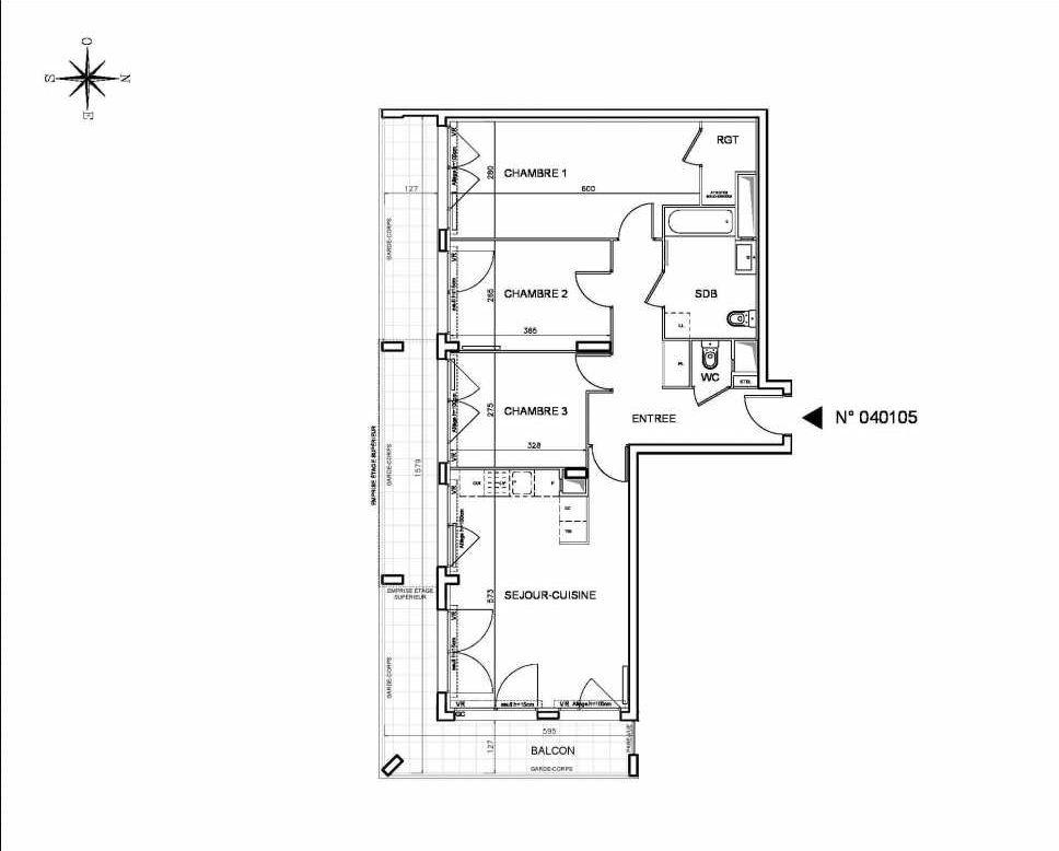 Plan 040105, appartement neuf type T4 au 1er étage, orienté Sud faisant 81m² du programme neuf Coeur de ville {Hall Botanik & Métropolitain} - Bo à Bobigny.