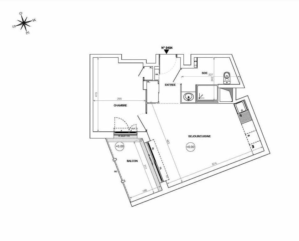 Plan 0404, appartement neuf type T2 au 4ème étage, orienté Sud faisant 44m² du programme neuf Rive de Loire à Nantes.