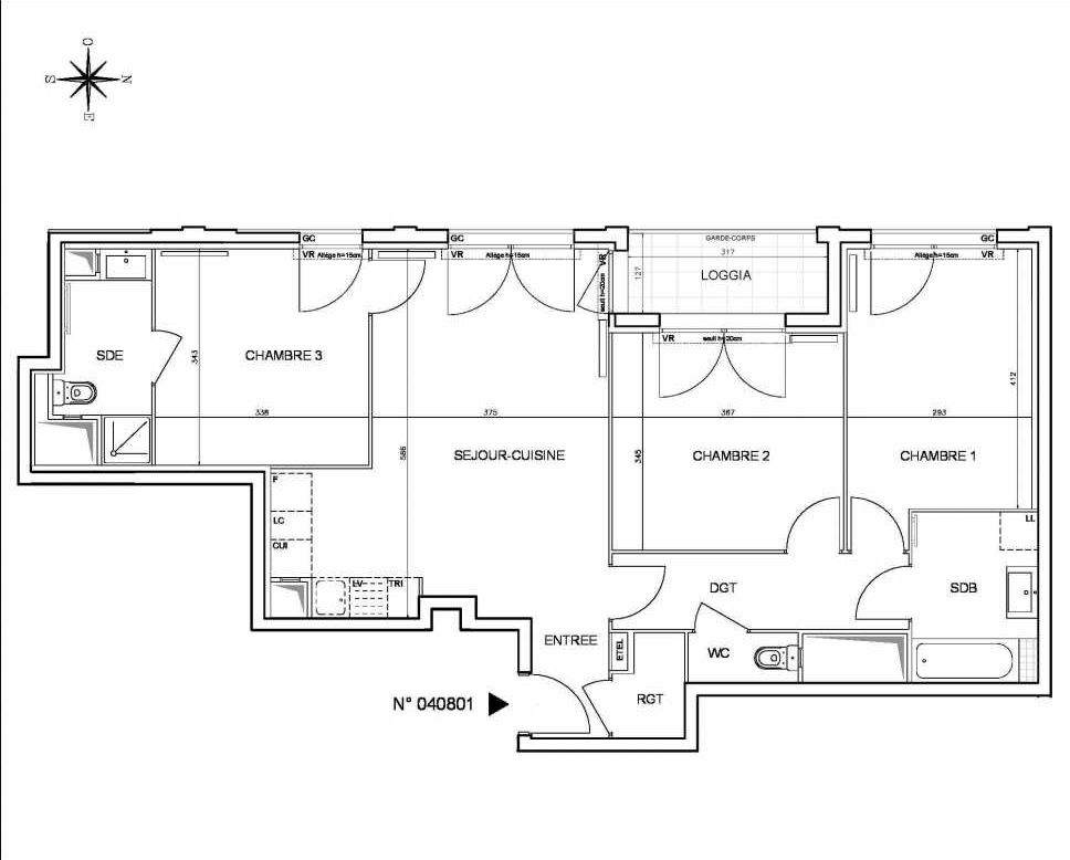 Plan 040801, appartement neuf type T4 au 8ème étage, orienté Ouest faisant 83m² du programme neuf Coeur de ville {Hall Botanik & Métropolitain} - Bo à Bobigny.