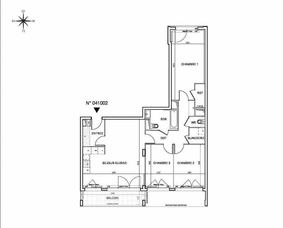 Plan 041002, appartement neuf type T4 au 10ème étage, orienté Est faisant 89m² du programme neuf Coeur de ville {Hall Botanik & Métropolitain} - Bo à Bobigny.