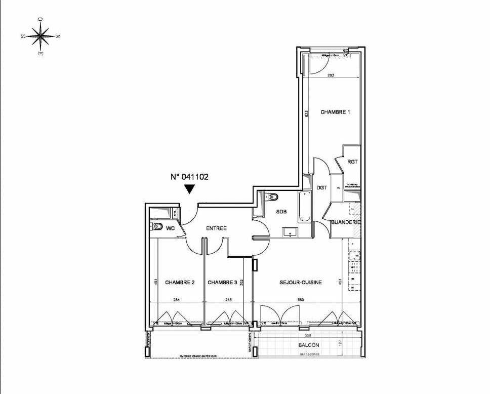Plan 041102, appartement neuf type T4 au Rez de chaussée, orienté Est faisant 88m² du programme neuf Coeur de ville {Hall Botanik & Métropolitain} - Bo à Bobigny.