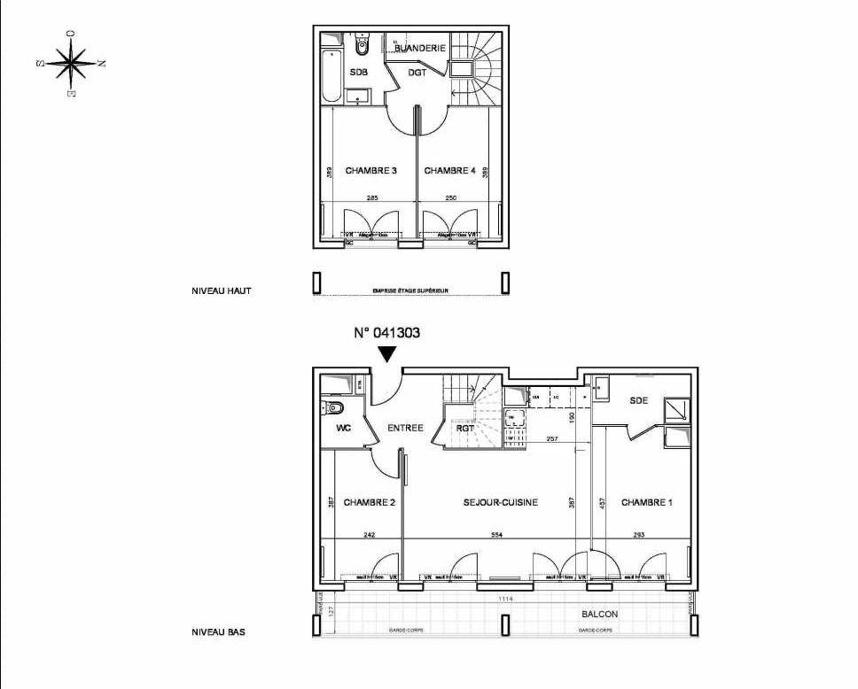 Plan 041303, appartement neuf type T5 au Rez de chaussée, orienté Est faisant 90m² du programme neuf Coeur de ville {Hall Botanik & Métropolitain} - Bo à Bobigny.