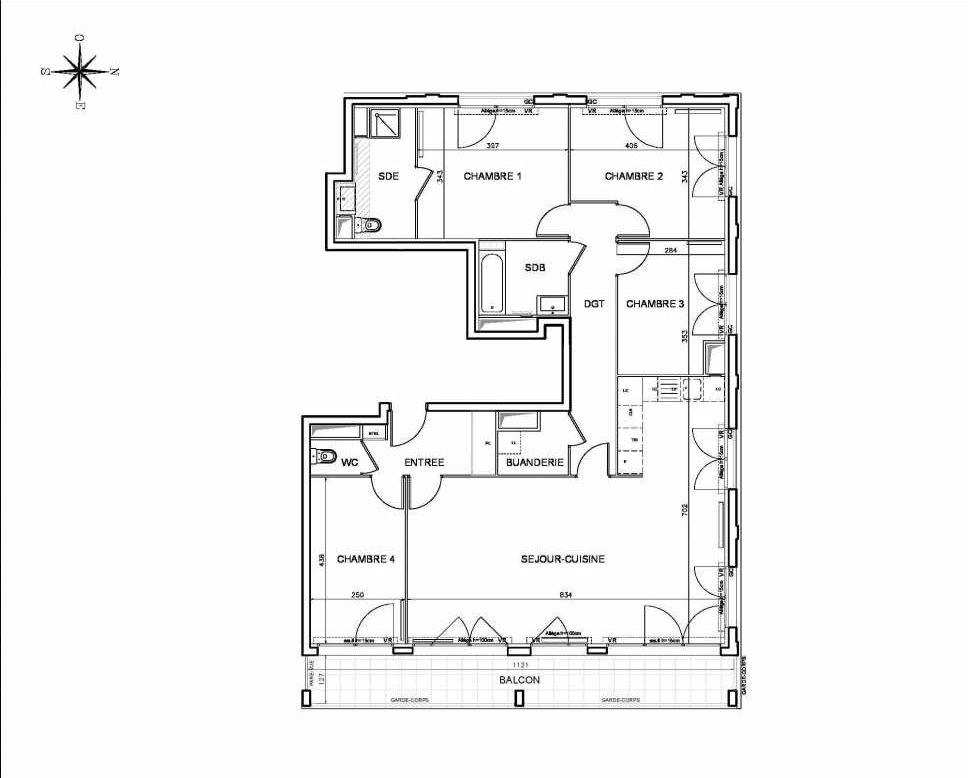 Plan 041501, appartement neuf type T5 au Rez de chaussée, orienté Est faisant 119m² du programme neuf Coeur de ville {Hall Botanik & Métropolitain} - Bo à Bobigny.
