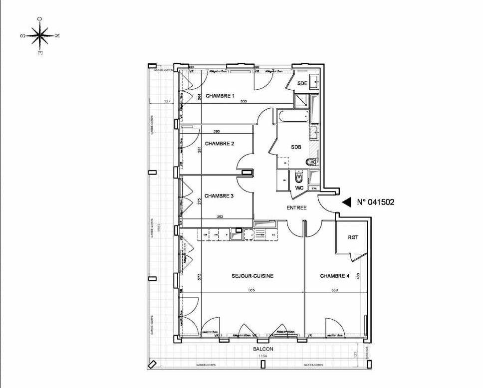 Plan 041502, appartement neuf type T5 au Rez de chaussée, orienté Sud faisant 116m² du programme neuf Coeur de ville {Hall Botanik & Métropolitain} - Bo à Bobigny.
