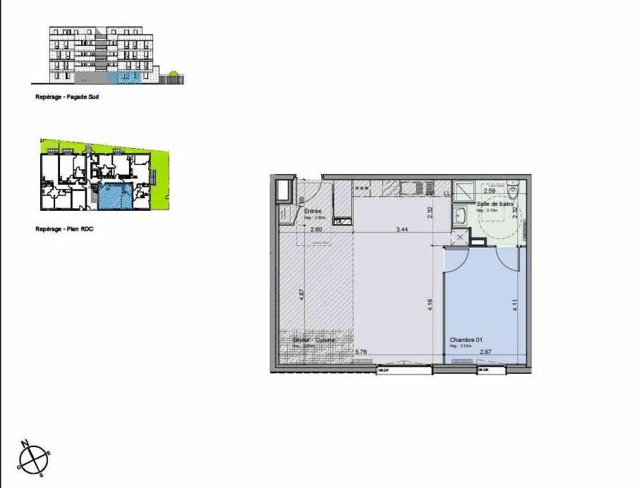 Plan 05, appartement neuf, orienté Sud faisant 55m² du programme neuf Greystone à Lille.