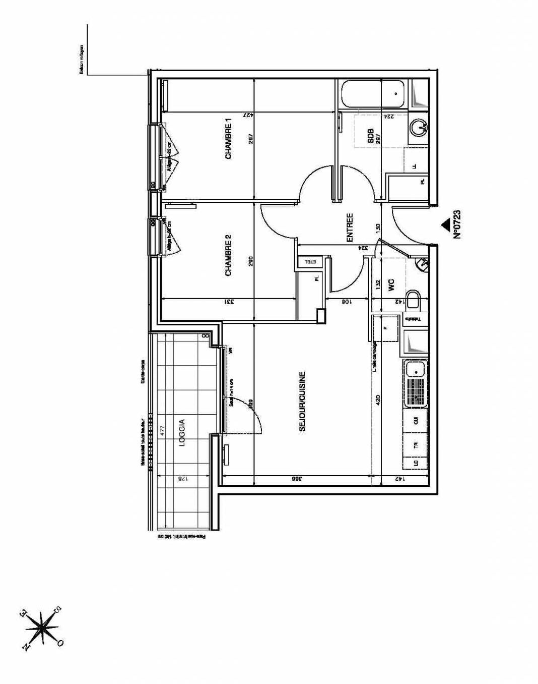 Plan 0723, appartement neuf type T3 au 2ème étage, faisant 57m² du programme neuf Atrium City à Clichy.