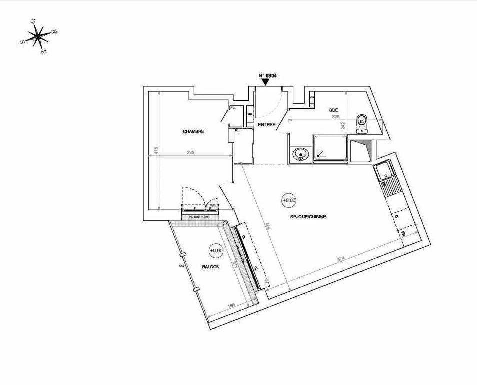 Plan 0804, appartement neuf type T2 au 8ème étage, orienté Sud faisant 44m² du programme neuf Rive de Loire à Nantes.