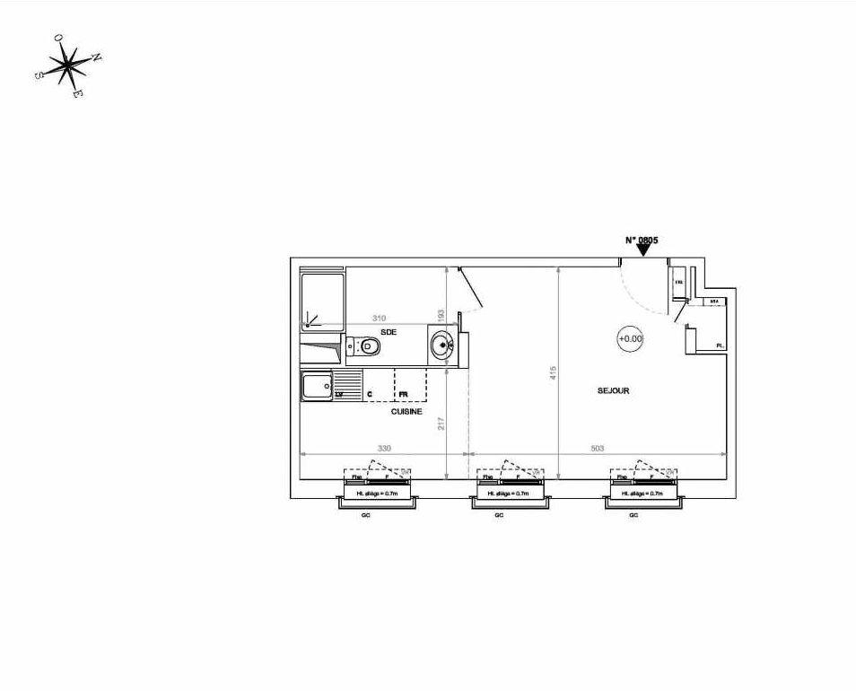 Plan 0805, appartement neuf type T1 au 8ème étage, orienté Est faisant 33m² du programme neuf Rive de Loire à Nantes.
