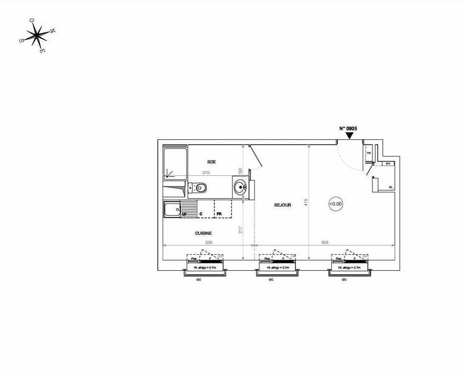 Plan 0905, appartement neuf type T1 au 9ème étage, orienté Est faisant 33m² du programme neuf Rive de Loire à Nantes.