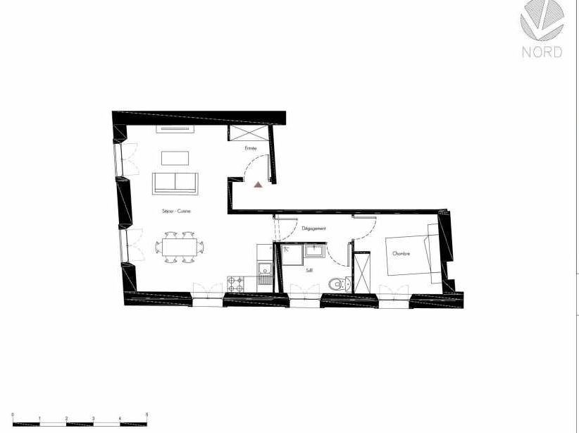 Plan 1, appartement neuf, faisant 47m² du programme neuf 1 Rue Grignan à Marseille.