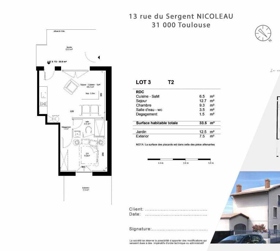 Plan 1, appartement neuf type T2 au Rez de chaussée, faisant 34m² du programme neuf 13 Rue du Sergent Nicoleau à Toulouse.