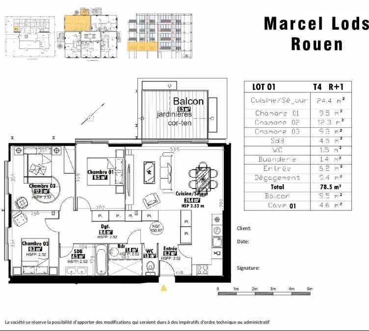 Plan 1, appartement neuf type T4 au 1er étage, faisant 79m² du programme neuf 15 rue Jean-Philippe Rameau à Rouen.