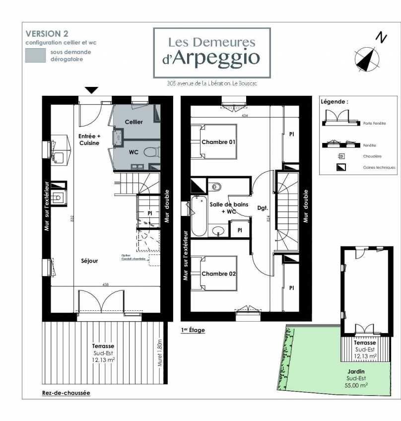 Plan 1, appartement neuf type T3 au Rez de chaussée, orienté Sud faisant 63m² du programme neuf LES DEMEURES D'ARPEGGIO à Le Bouscat.
