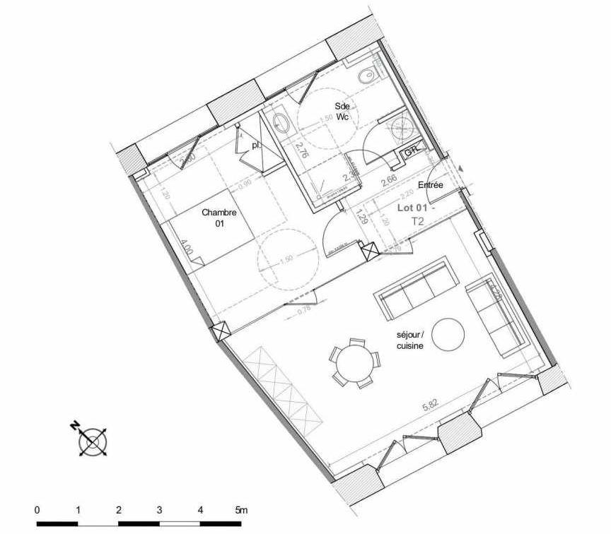 Plan 1, appartement neuf type T2 au Rez de chaussée, faisant 53m² du programme neuf LES HAUTS DE MIRABEAU à Aix-en-Provence.