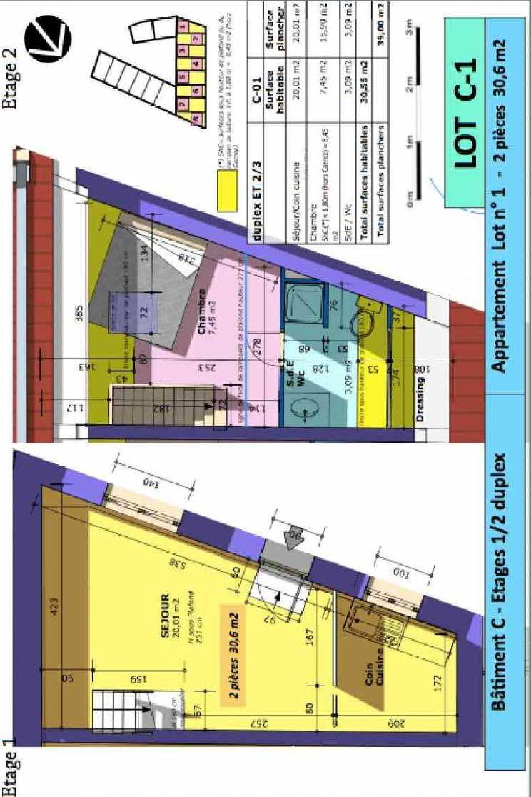 Plan 1, appartement neuf type T2 au 1er étage, faisant 30m² du programme neuf Rue de Gournay - Bat C à Chelles.