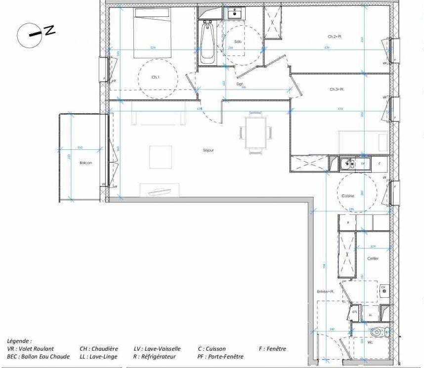 Plan 1.02, appartement neuf type T4 au 1er étage, orienté Sud faisant 90m² du programme neuf Les Jardins des Docks à Le Havre.