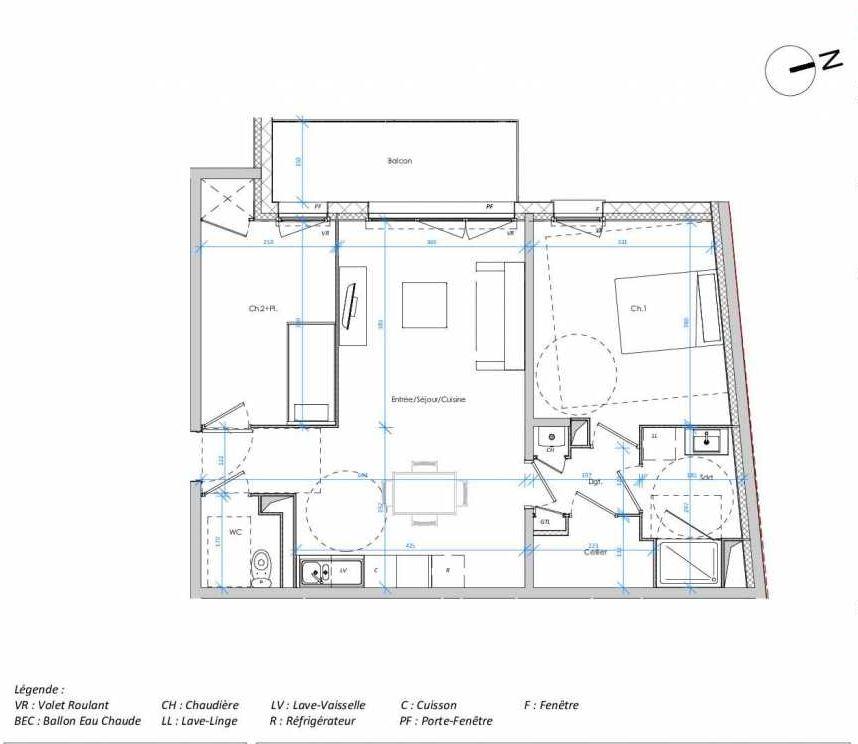 Plan 1.03, appartement neuf type T3 au 1er étage, orienté Ouest faisant 64m² du programme neuf Les Jardins des Docks à Le Havre.