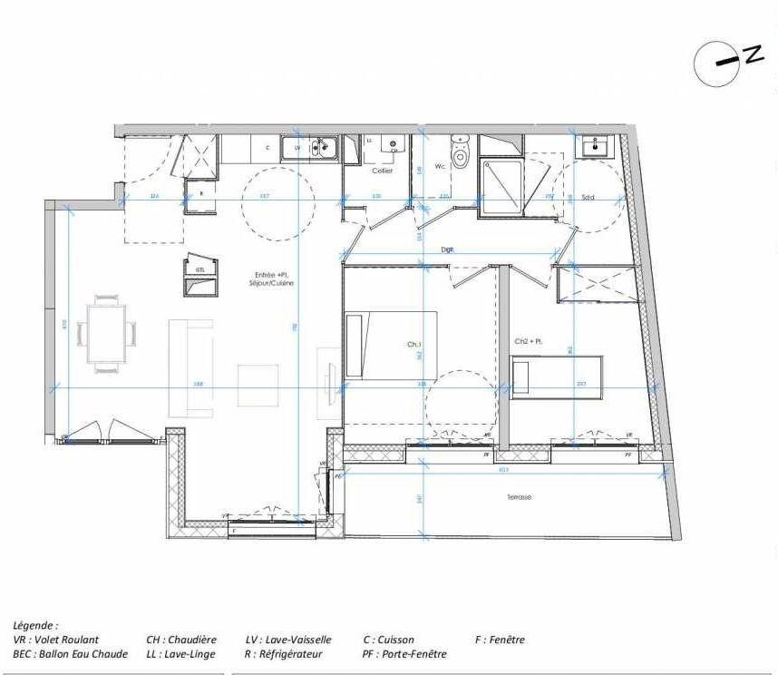Plan 1.04, appartement neuf type T3 au 1er étage, orienté Est faisant 75m² du programme neuf Les Jardins des Docks à Le Havre.