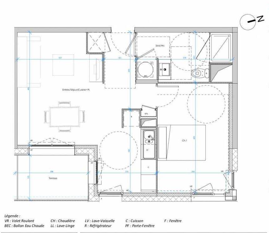 Plan 1.05, appartement neuf type T2 au 1er étage, orienté Est faisant 45m² du programme neuf Les Jardins des Docks à Le Havre.