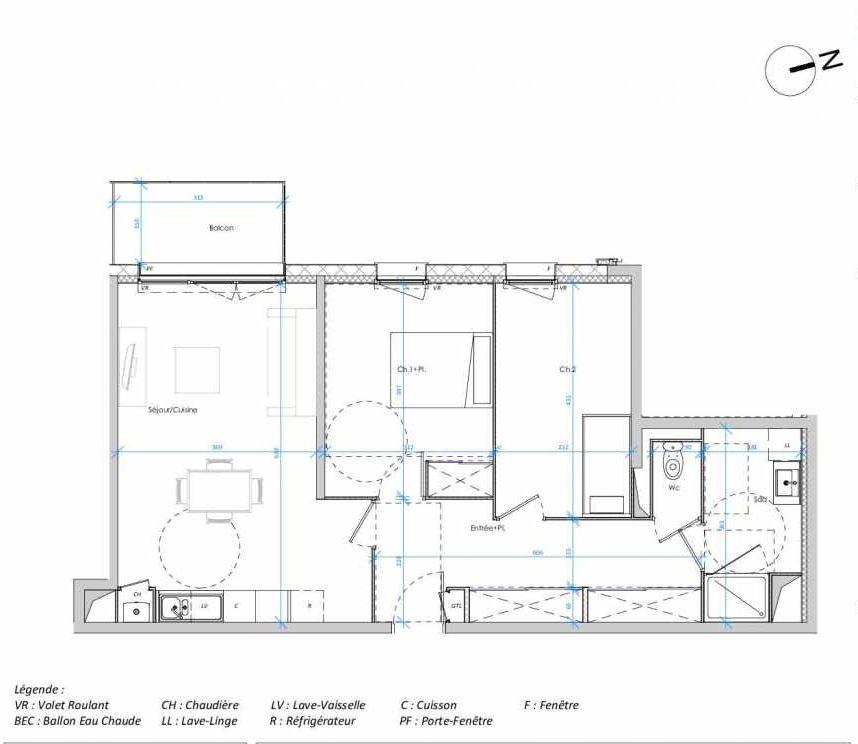 Plan 1.09, appartement neuf type T3 au 1er étage, orienté Ouest faisant 68m² du programme neuf Les Jardins des Docks à Le Havre.