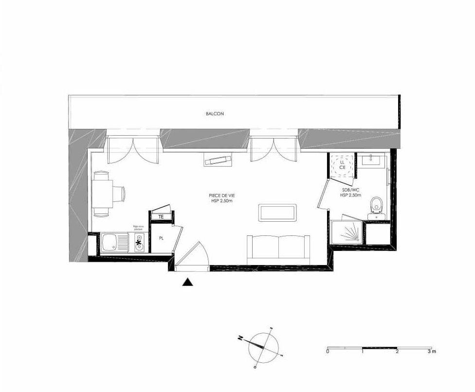 Plan 1.1, appartement neuf type T1 au 1er étage, faisant 24m² du programme neuf LE DOMAINE SAINT-LOUIS à Chalon-sur-Saône.