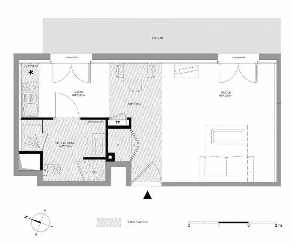 Plan 1.101, appartement neuf type T1 au 1er étage, faisant 31m² du programme neuf LE DOMAINE SAINT-LOUIS à Chalon-sur-Saône.