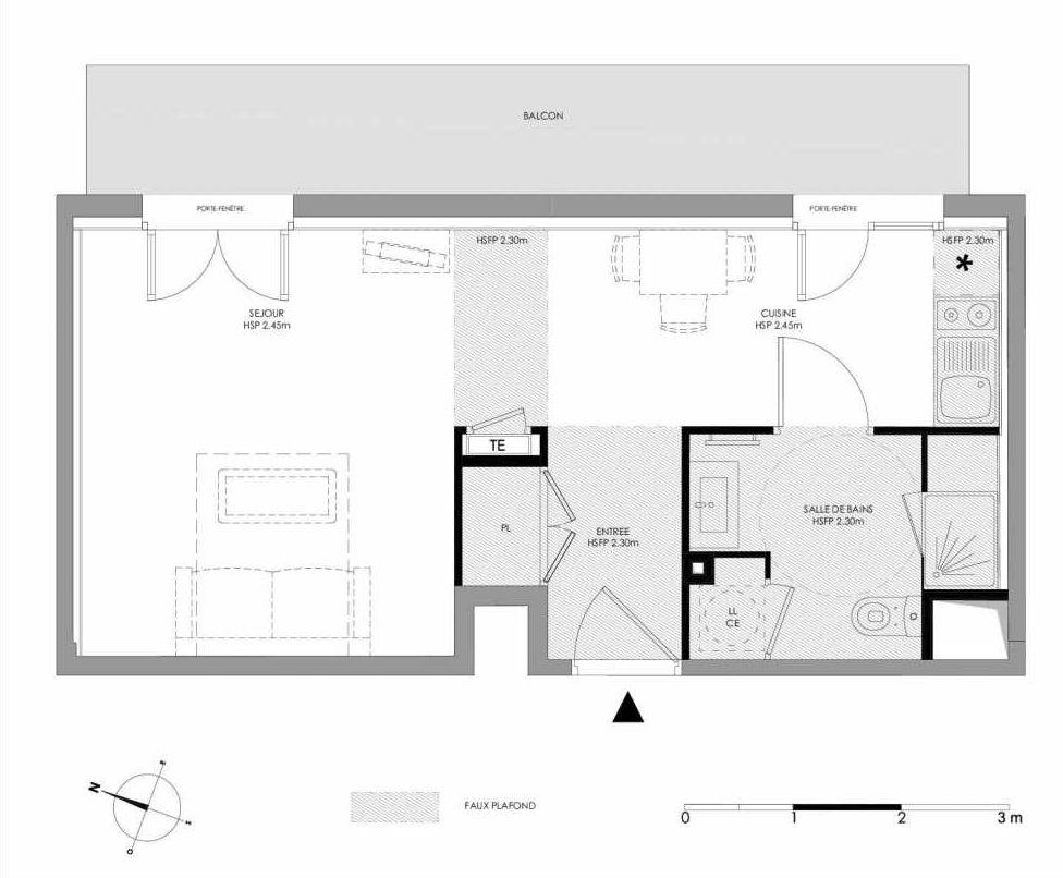 Plan 1.102, appartement neuf type T1 au 1er étage, faisant 31m² du programme neuf LE DOMAINE SAINT-LOUIS à Chalon-sur-Saône.