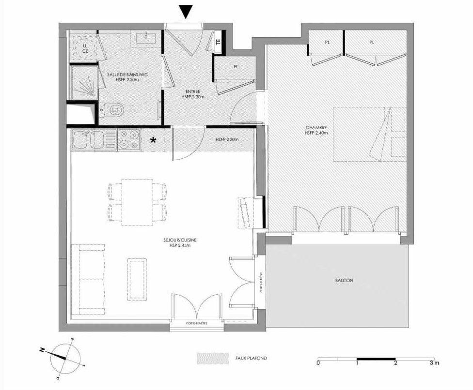 Plan 1.106, appartement neuf type T2 au 1er étage, faisant 51m² du programme neuf LE DOMAINE SAINT-LOUIS à Chalon-sur-Saône.
