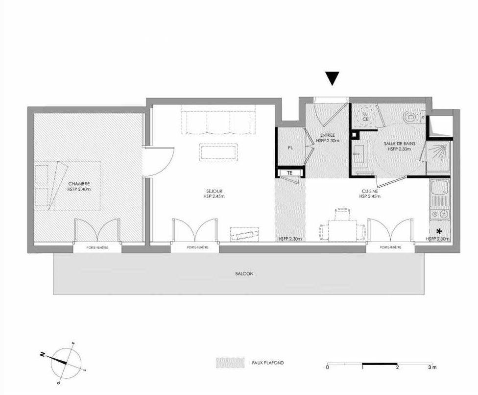 Plan 1.107, appartement neuf type T2 au 1er étage, faisant 42m² du programme neuf LE DOMAINE SAINT-LOUIS à Chalon-sur-Saône.
