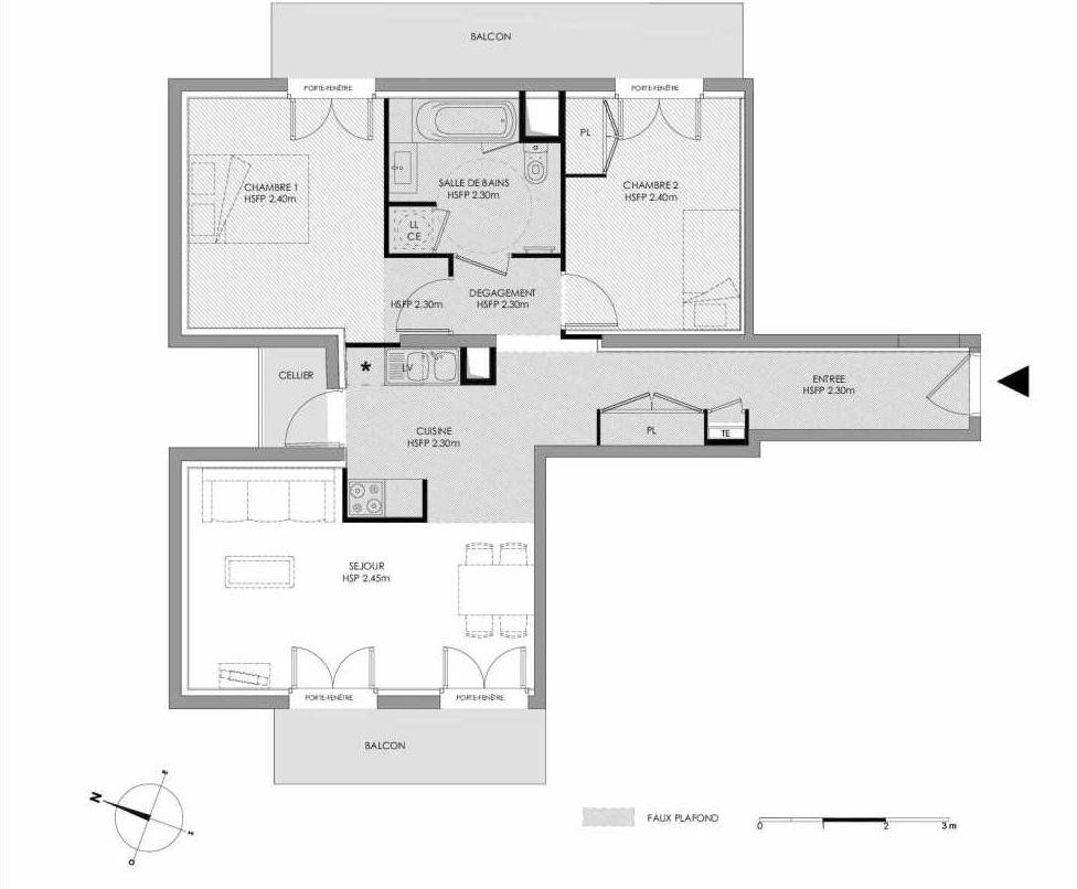 Plan 1.108, appartement neuf type T3 au 1er étage, faisant 64m² du programme neuf LE DOMAINE SAINT-LOUIS à Chalon-sur-Saône.