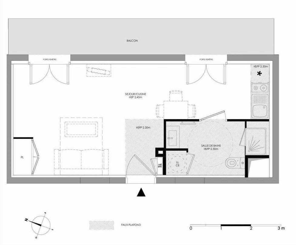 Plan 1.109, appartement neuf type T1 au 1er étage, faisant 29m² du programme neuf LE DOMAINE SAINT-LOUIS à Chalon-sur-Saône.