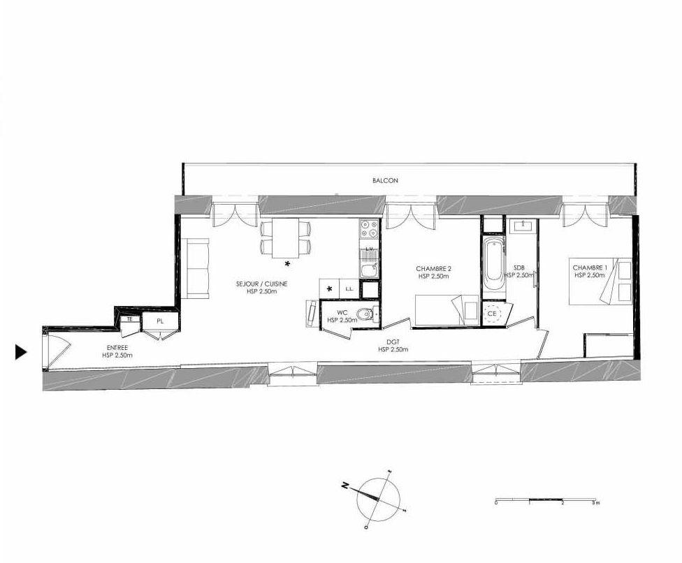 Plan 1.2, appartement neuf type T3 au 1er étage, faisant 61m² du programme neuf LE DOMAINE SAINT-LOUIS à Chalon-sur-Saône.