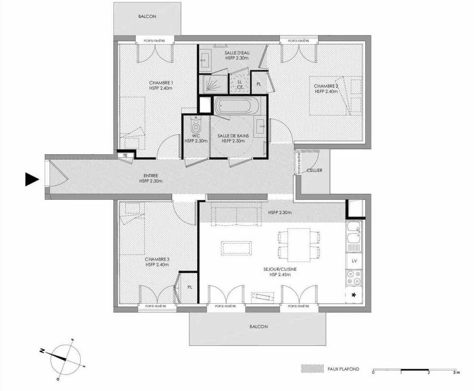 Plan 1.203, appartement neuf type T4 au 2ème étage, faisant 75m² du programme neuf LE DOMAINE SAINT-LOUIS à Chalon-sur-Saône.