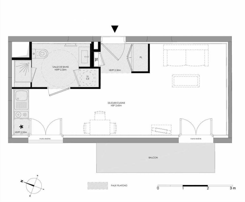 Plan 1.204, appartement neuf type T1 au 2ème étage, faisant 29m² du programme neuf LE DOMAINE SAINT-LOUIS à Chalon-sur-Saône.