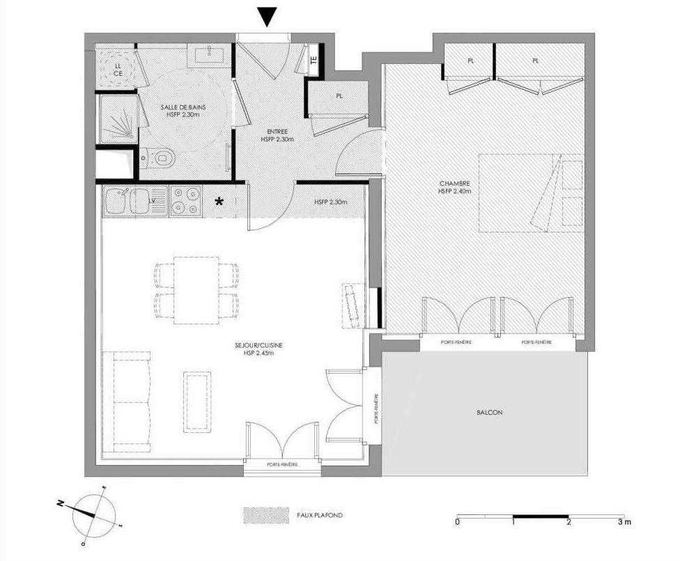 Plan 1.206, appartement neuf type T2 au 2ème étage, faisant 51m² du programme neuf LE DOMAINE SAINT-LOUIS à Chalon-sur-Saône.