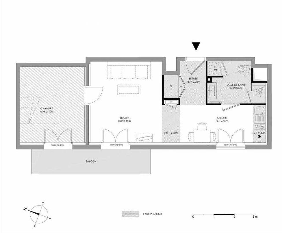 Plan 1.207, appartement neuf type T2 au 2ème étage, faisant 42m² du programme neuf LE DOMAINE SAINT-LOUIS à Chalon-sur-Saône.