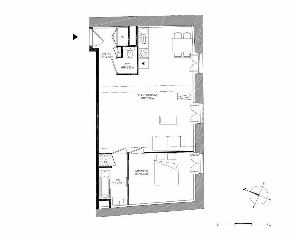 Plan 1.3, appartement neuf type T3 au 1er étage, faisant 55m² du programme neuf LE DOMAINE SAINT-LOUIS à Chalon-sur-Saône.