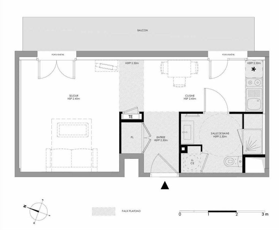 Plan 1.302, appartement neuf type T1 au 3ème étage, faisant 31m² du programme neuf LE DOMAINE SAINT-LOUIS à Chalon-sur-Saône.